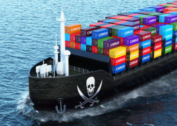 Freighter Ship With Piracy Smuggling Cargo Containers Sailing In